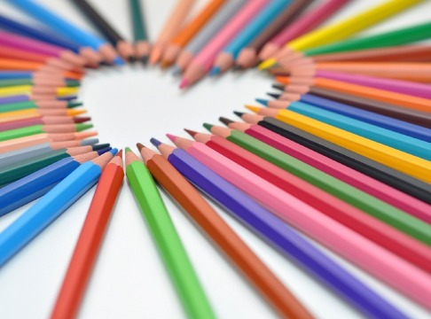 Heart Colorful Sharpened Rainbow Colored Pencils